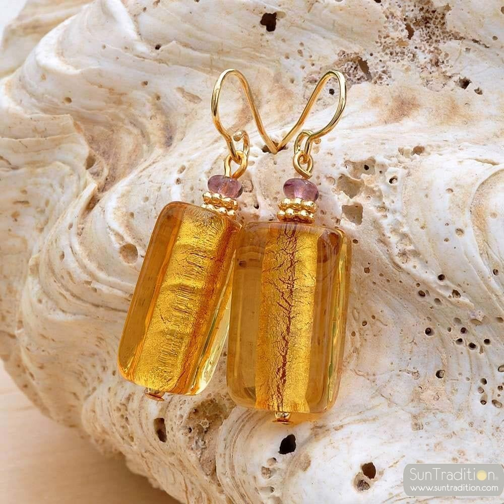 4 SEASONS - GOLD AMBER EARRINGS GENUINE MURANO GLASS VENICE