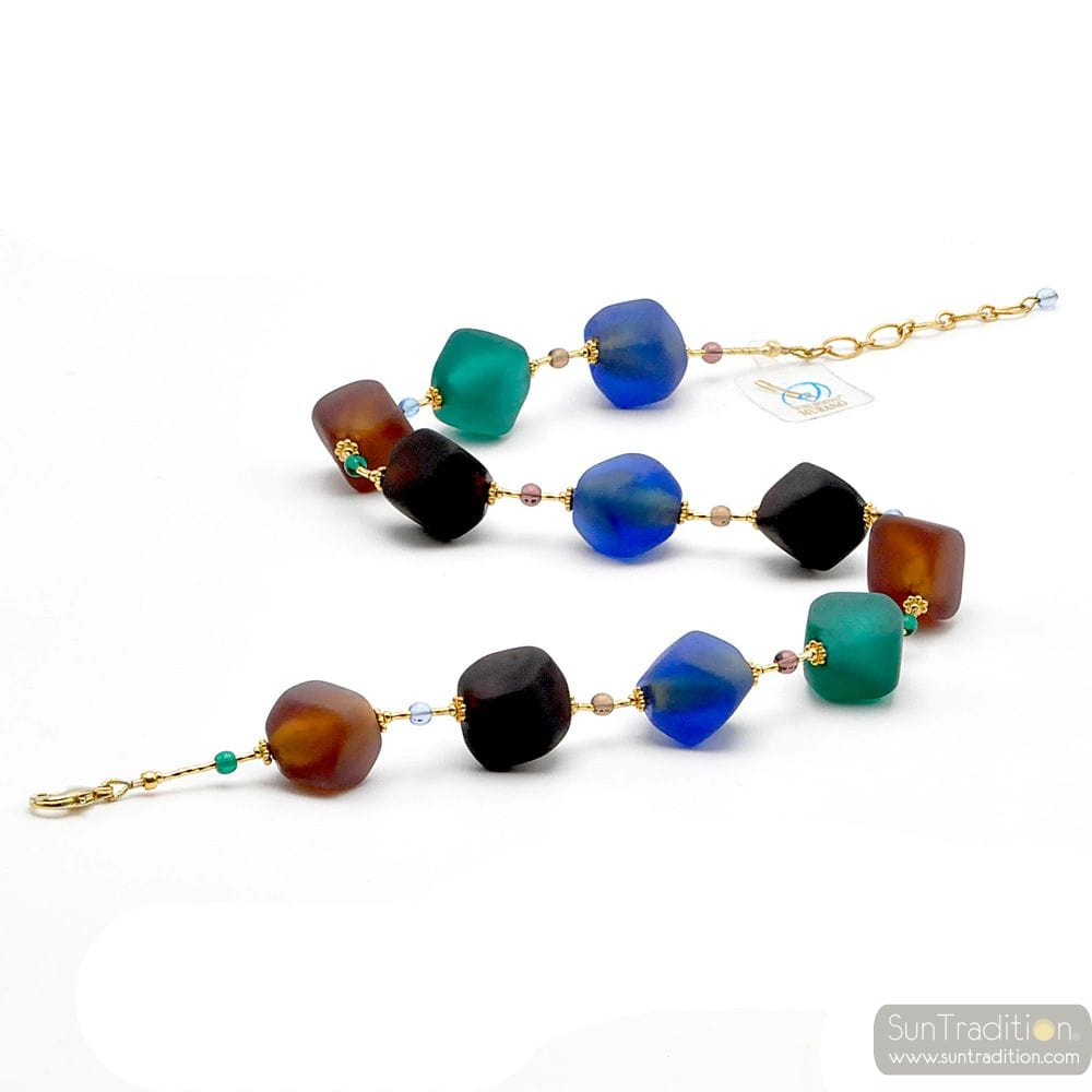 NECKLACE BROWN BLUE GOLD JEWEL, GENUINE MURANO GLASS OF VENICE