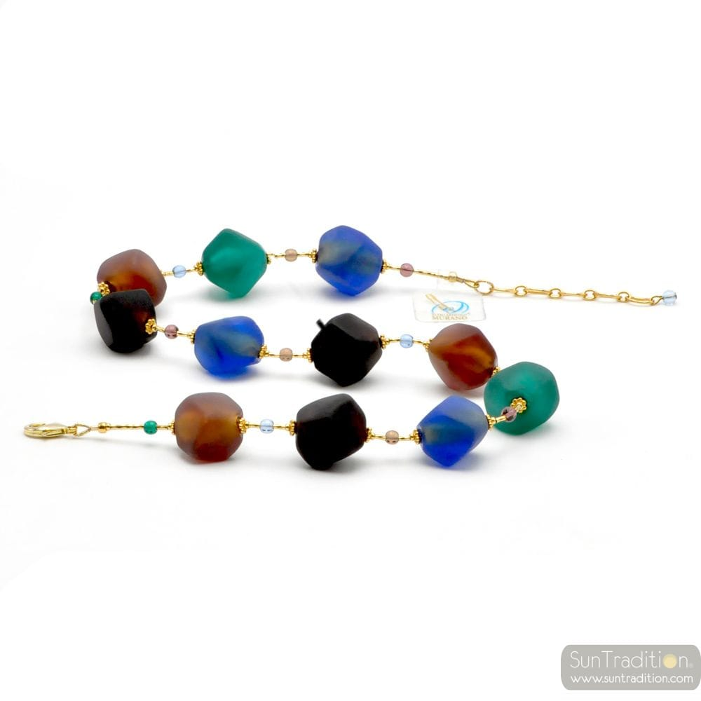 GREEN AND BLUE GOLD NECKLACE GENUINE GLASS SATIN FROM MURANO IN VENICE
