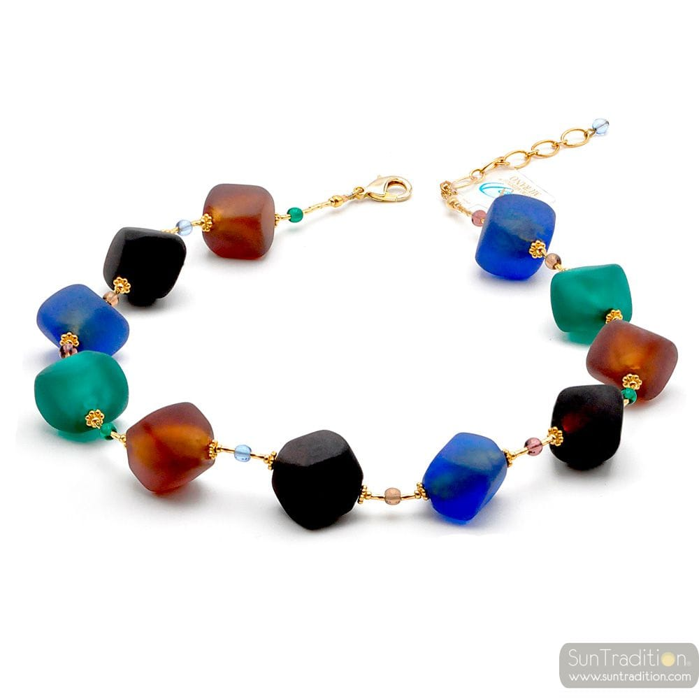 COLLIER BLEU MARRON SATIN OR BIJOU EN VERITABLE VERRE DE MURANO DE VENISE