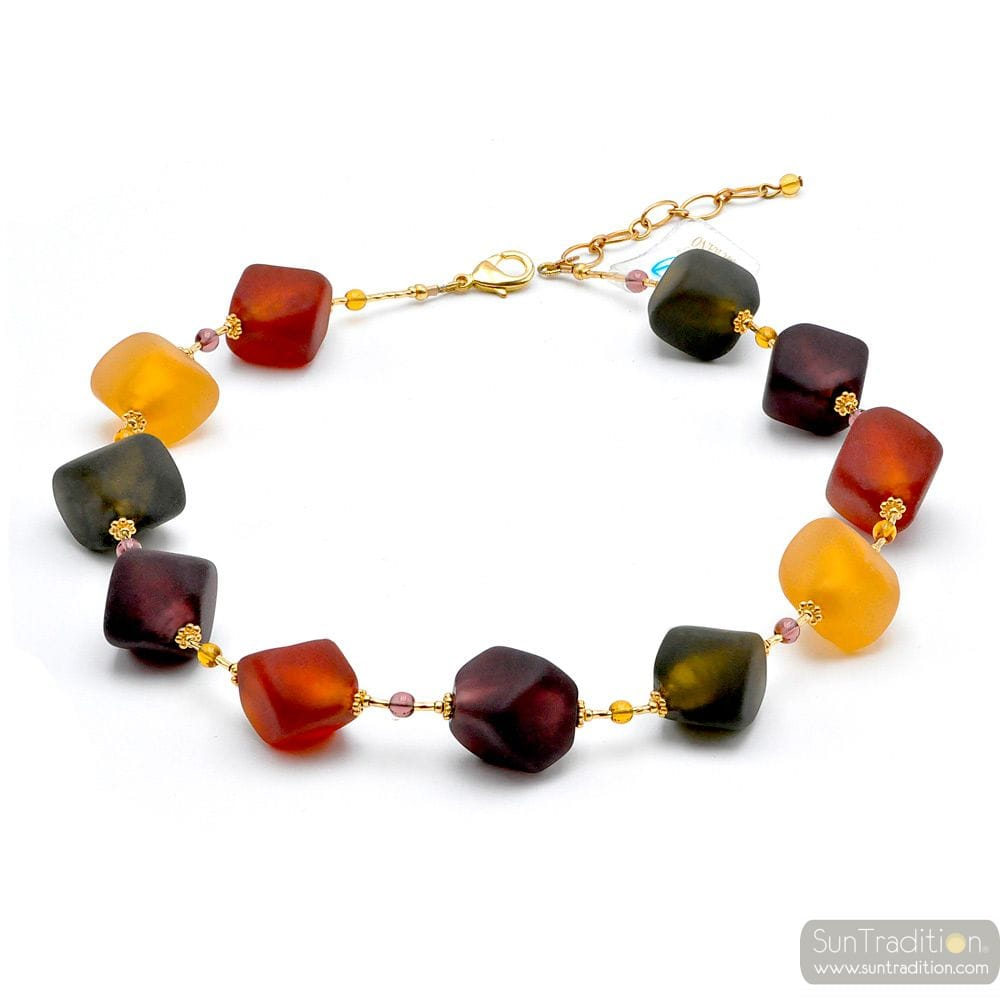 SCOGLIO SATIN COLOR FALL- GOLD MURANO GLASS NECKLACE GENUINE MURANO GLASS JEWELRY OF VENICE
