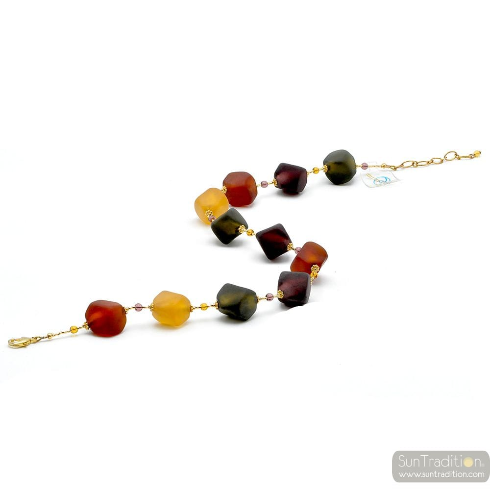 GOLD COLLAR GREEN AND BROWN MURANO GLASS OF VENICE