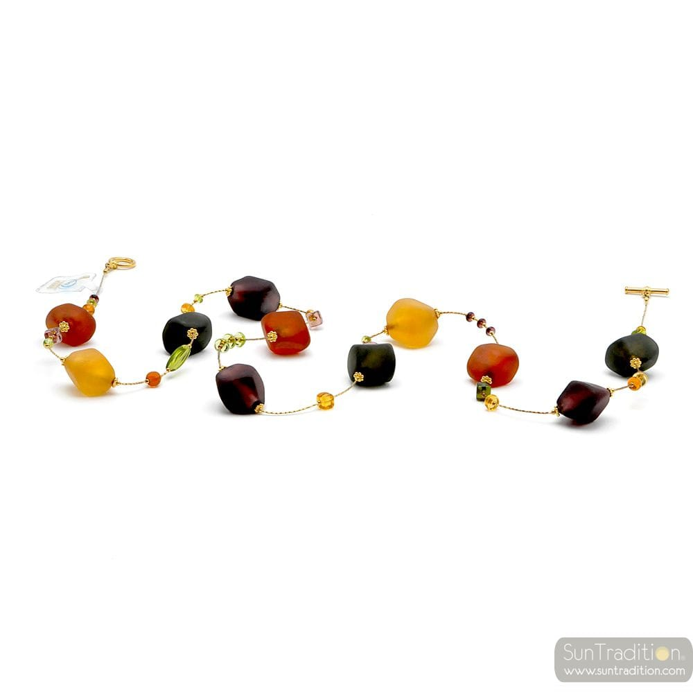 COLLAR LONG BROWN GOLD JEWEL, GENUINE MURANO GLASS OF VENICE