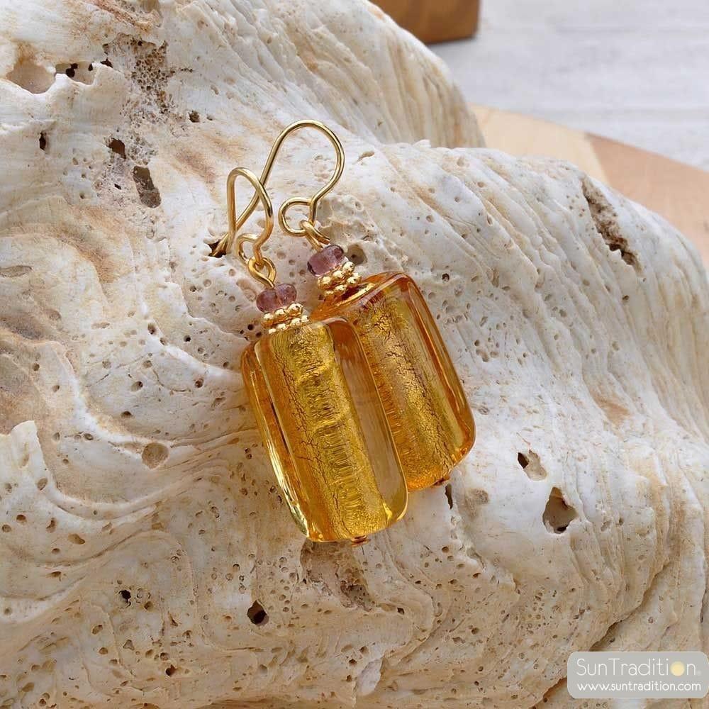 Örhängen i GLAS från MURANO GOLD AMBER