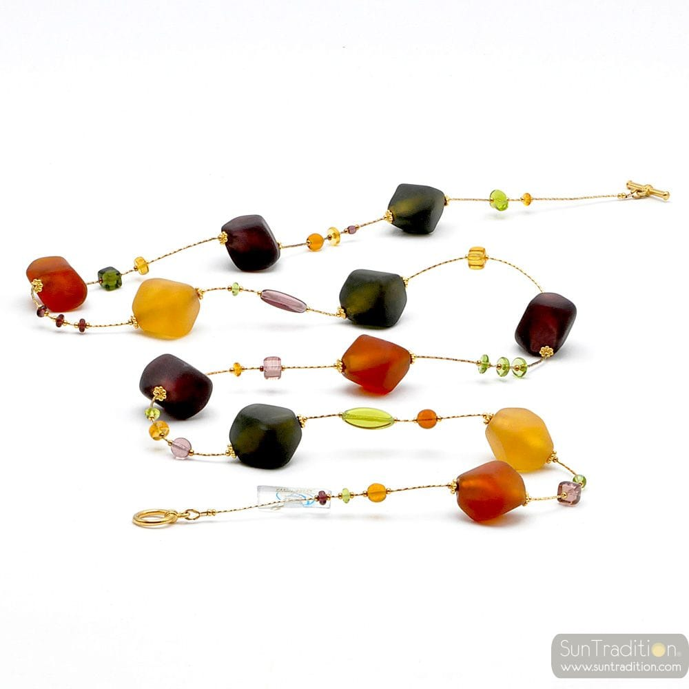 LONG GOLD COLOURED MURANO GLASS NECKLACE