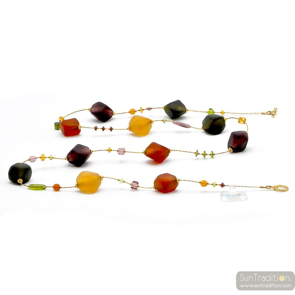 Gold and brown Murano glass satin beads necklace real venitian jewellery from Italy