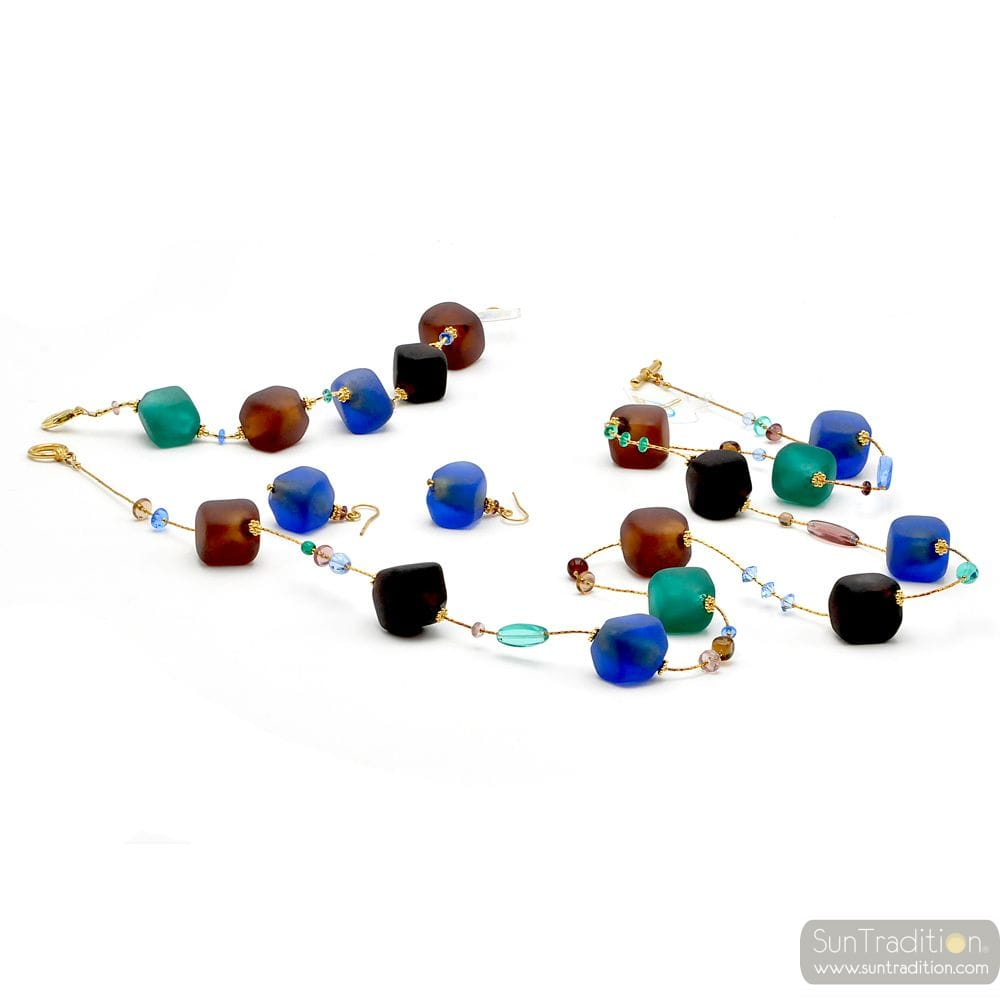 BLUE AND GOLD LONG JEWELRY SET IN REAL MURANO GLASS