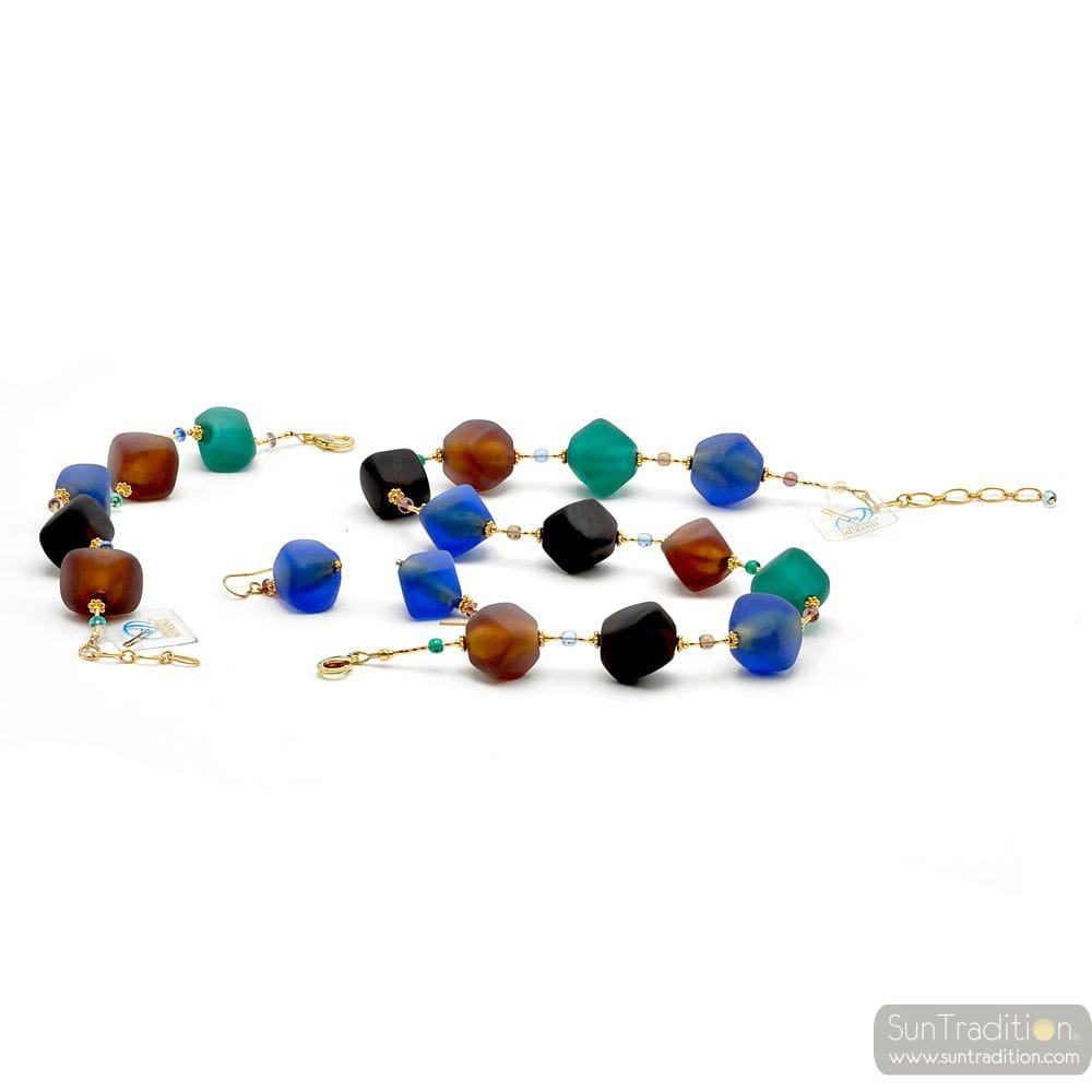BLUE AND GOLD JEWELRY SET OF BLUE GENUINE MURANO GLASS
