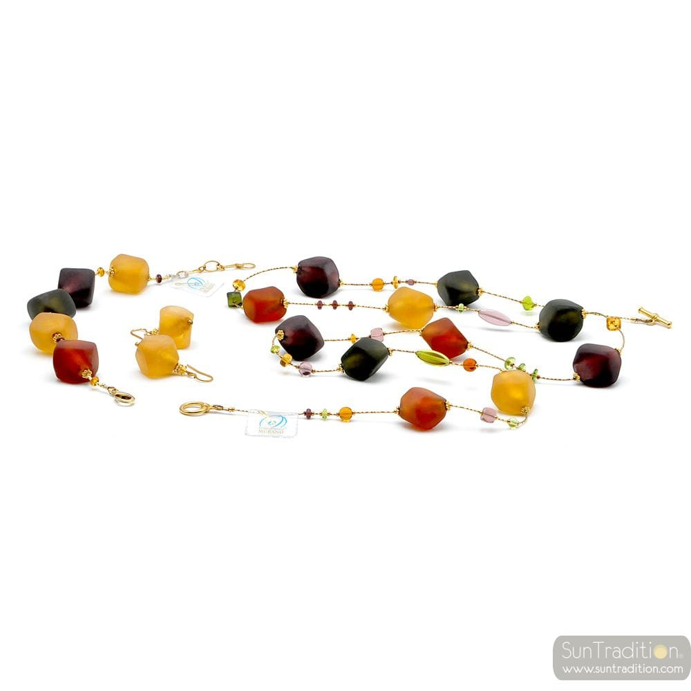 LONG GOLD NECKLACE JEWELRY SET GENUINE MURANO GLASS