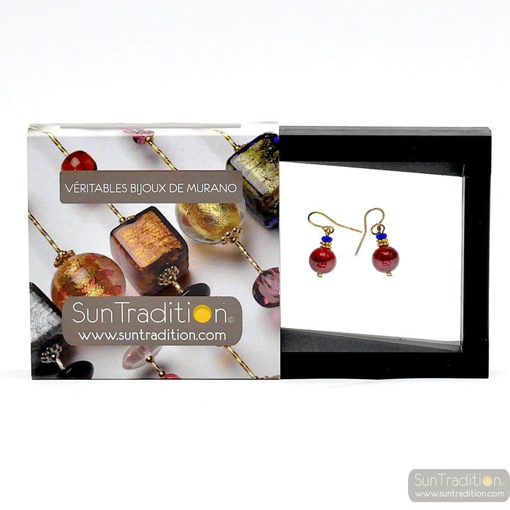 PENELOPE RED EARRINGS GENUINE MURANO GLASS VENICE