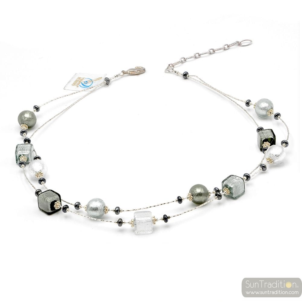 SILVER MURANO GLASS NECKLACE