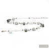 silver beads necklace - Silver Murano glass necklace real venitian jewel of Italy