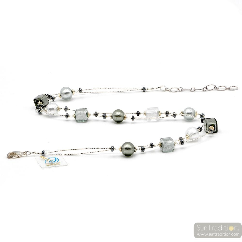 NECKLACE SILVER AND GLASS NECKLACE SILVER, MURANO GLASS OF VENICE