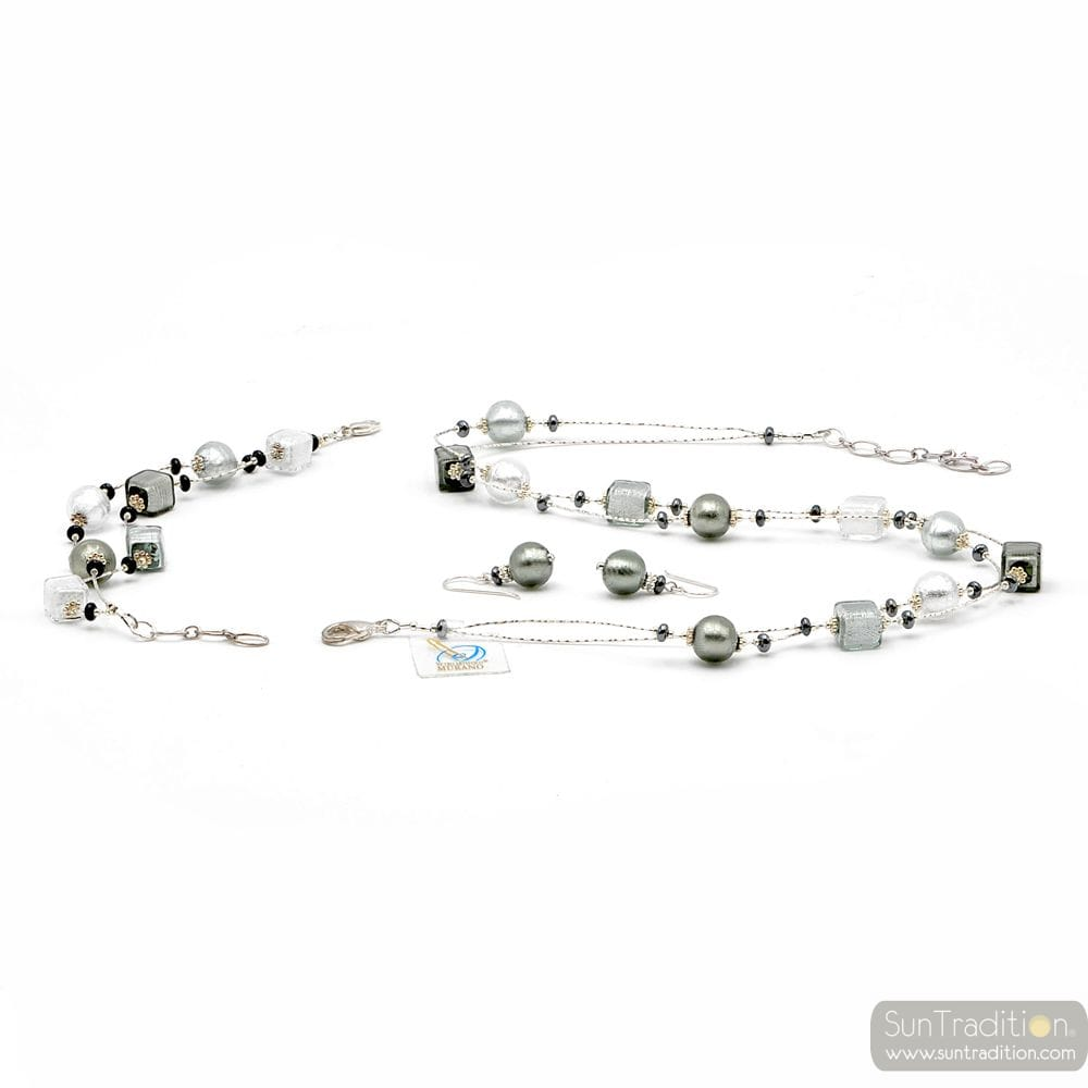 SILVER MURANO GLASS JEWELLERY SET - SILVER GLASS MURANO VENICE
