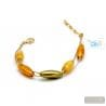 Green and gold genuine Murano glass bracelet Murano glass of venice Italy