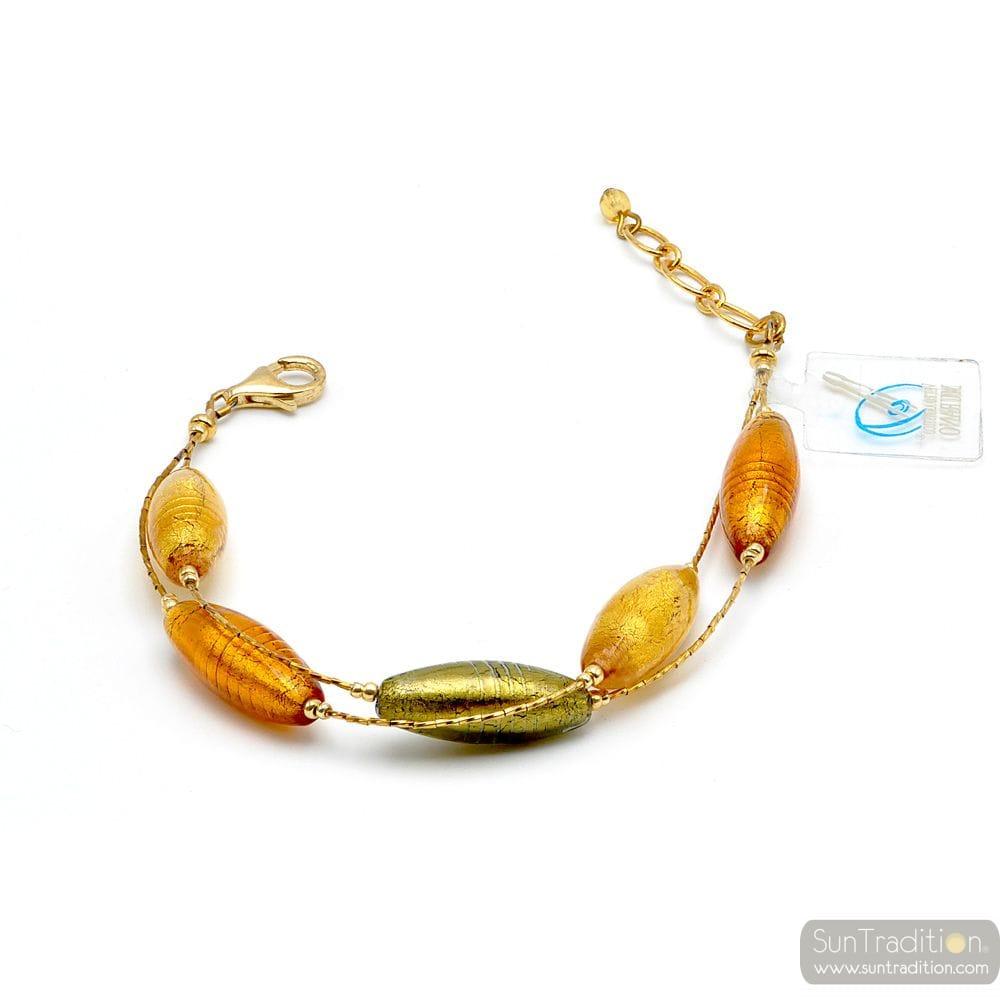 Green and gold genuine Murano glass bracelet Murano glass of venice Italy