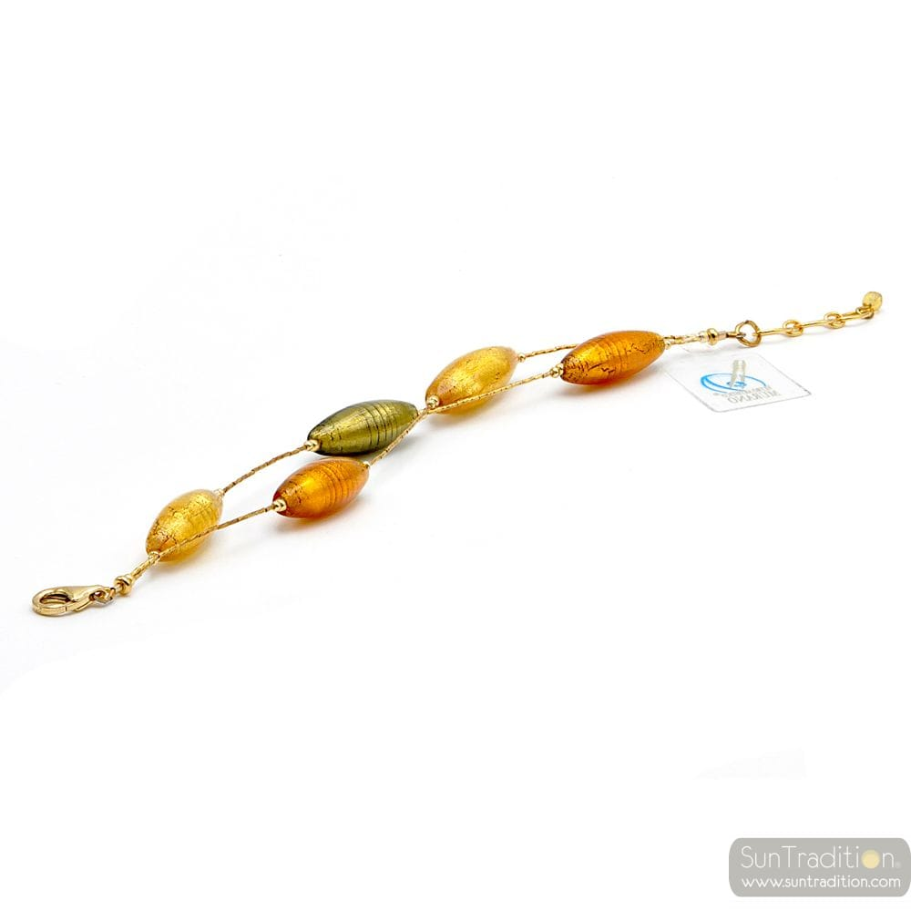 Green and gold Murano glass bracelet