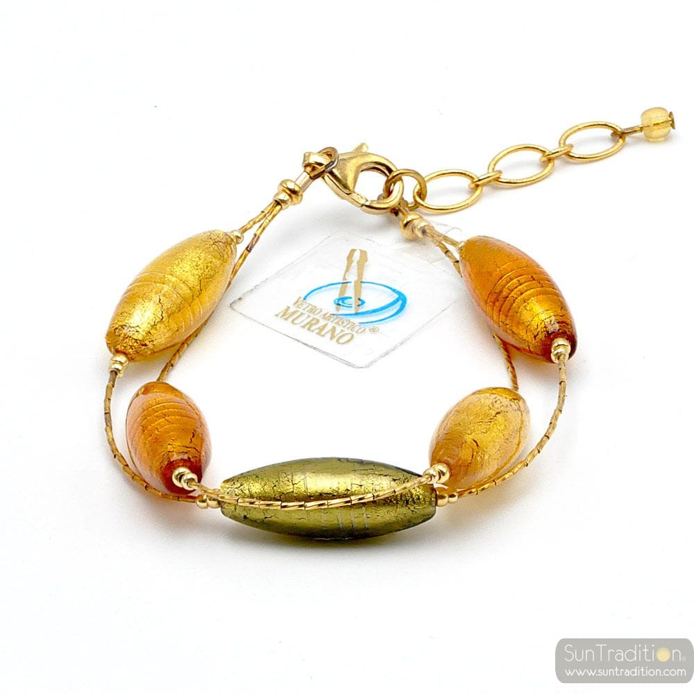 Amber and gold murano glass bracelet - Green and gold genuine Murano glass bracelet in true Murano glass of venice Italy