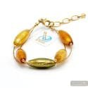 Oliver Amber - Amber, Green and gold genuine Murano glass bracelet in true Murano glass of venice Italy
