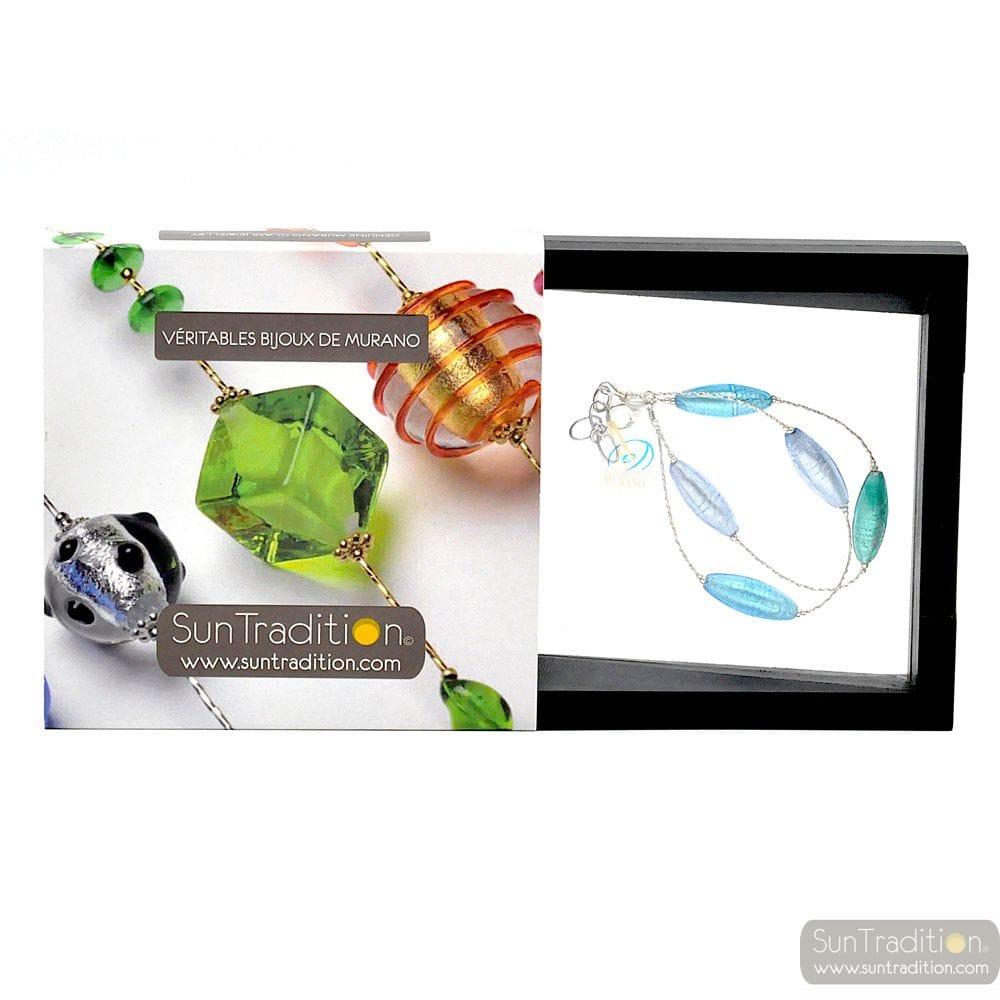 Oliver blue bracelet - Blue Murano glass bracelet from Venice Italy