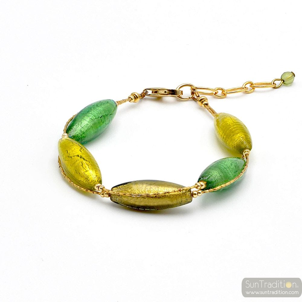 green and gold murano glass bracelet - green and gold Murano glass bracelet from Venice Italy