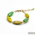 Oliver green - green and gold Murano glass bracelet from Venice Italy