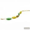 green and gold murano glass beads bracelet - green and gold Murano glass bracelet from Venice Italy