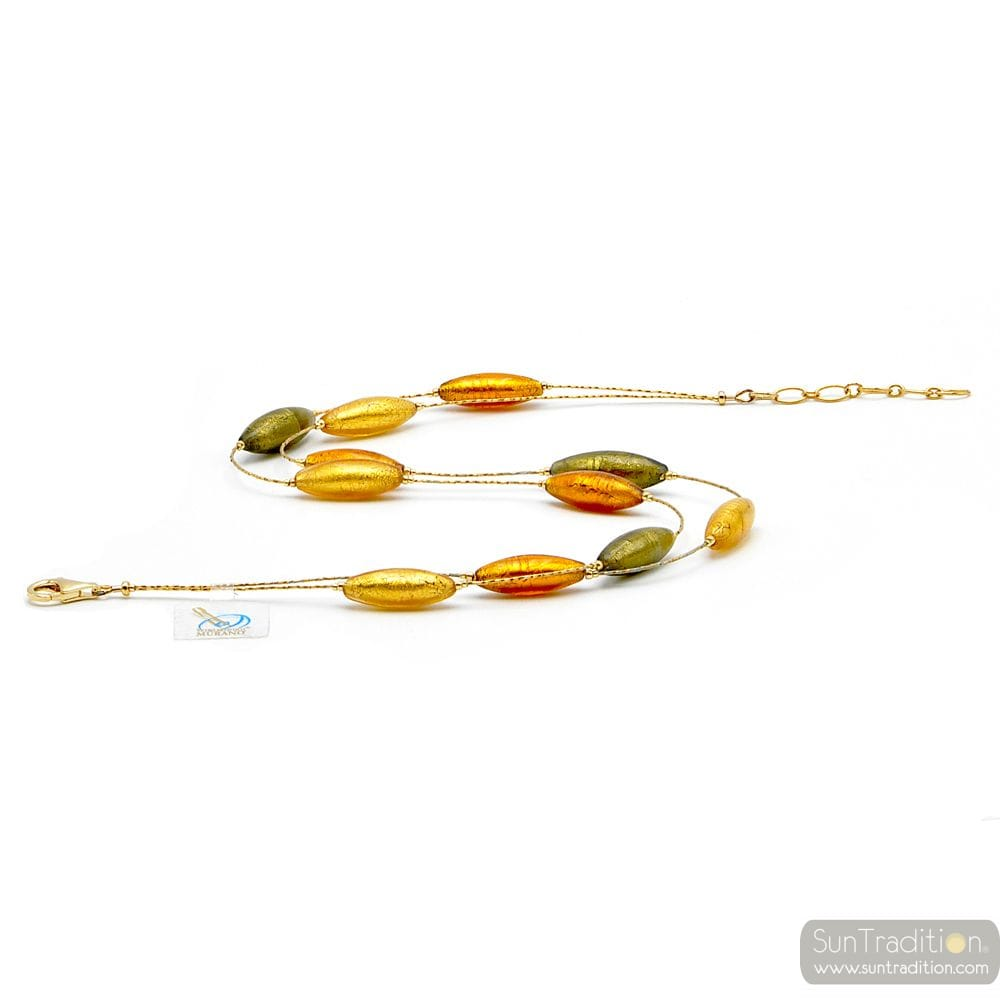 Amber and gold murano glass beds necklace - amber and gold Murano glass necklace of Venice