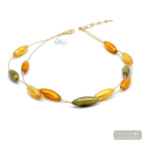 COLLIER AMBRE ET OR - COLLIER AMBRE ET OR EN VERRE DE MURANO
