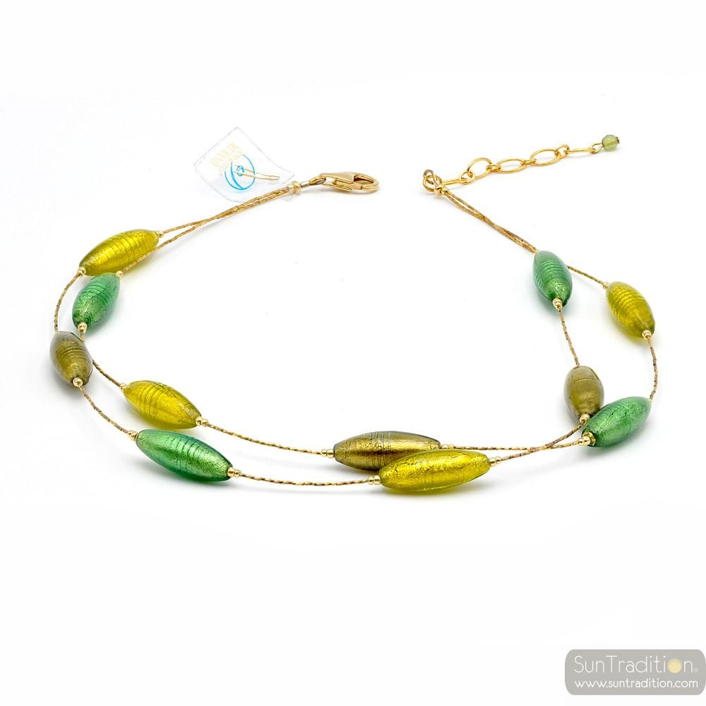 green and gold necklace - Green and gold Murano glass necklace true venitian jewel of Italy