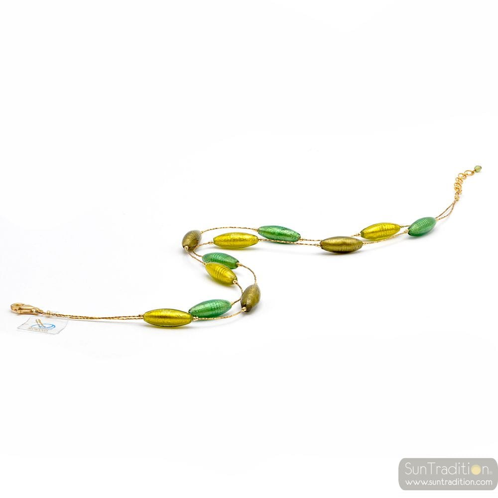 GLASS NECKLACE GREEN-AND-GOLD - NECKLACE-GOLD, GENUINE MURANO GLASS GREEN