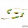 gold and green necklace - Green and gold Murano glass necklace jewel of Italy