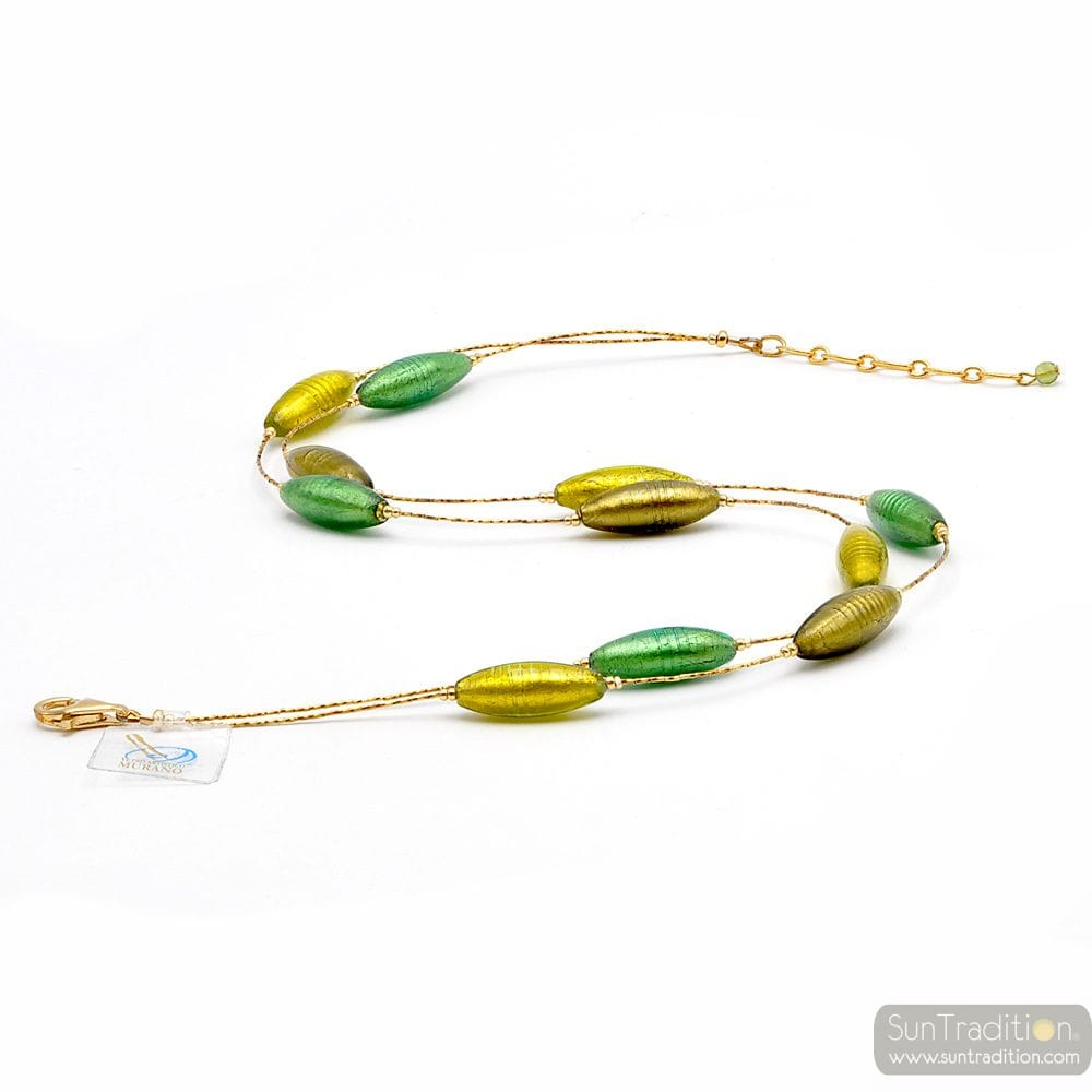 NECKLACE GREEN AND GOLD FANTASY NECKLACE GOLD GREEN MURANO GLASS