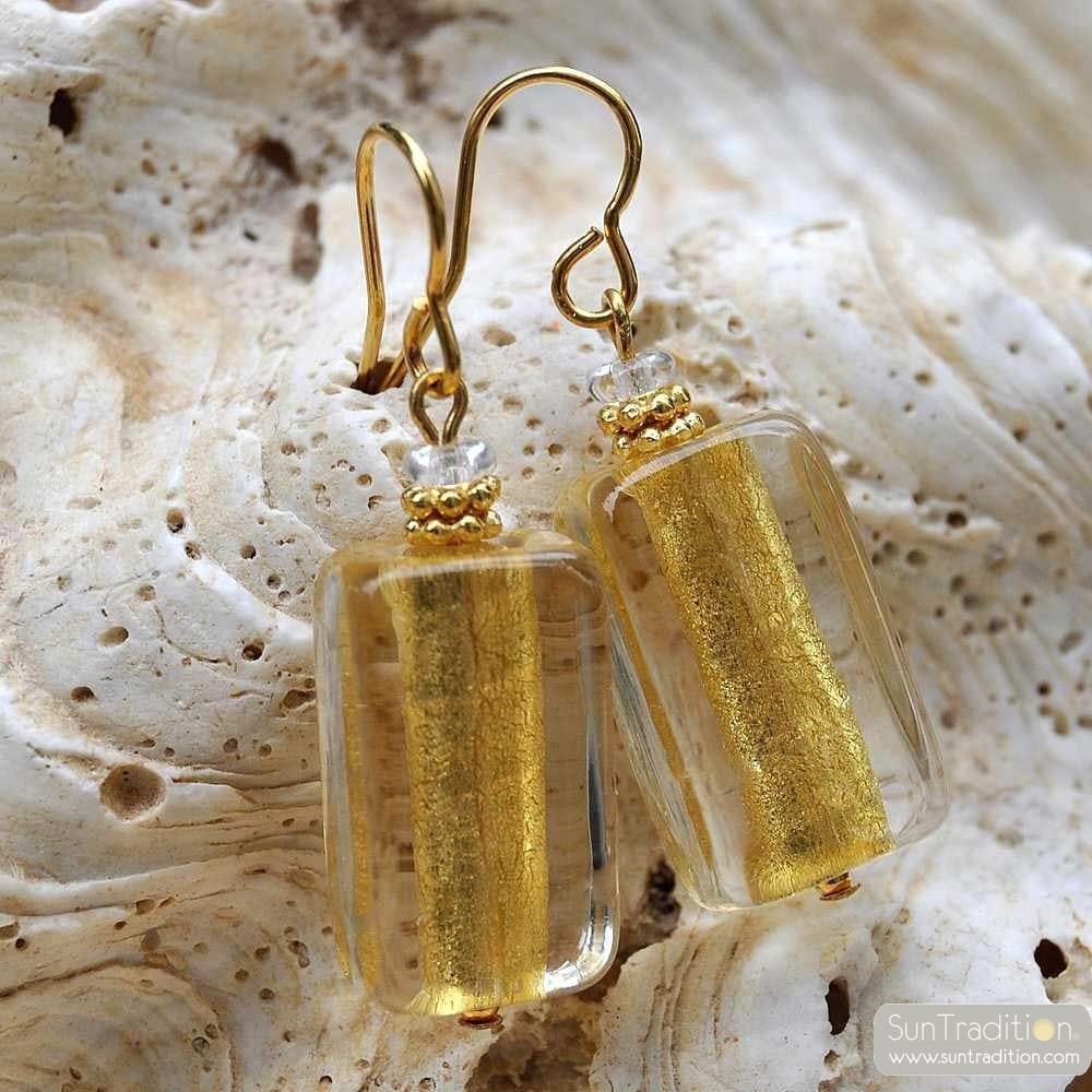 gold murano glass jewelry earrings