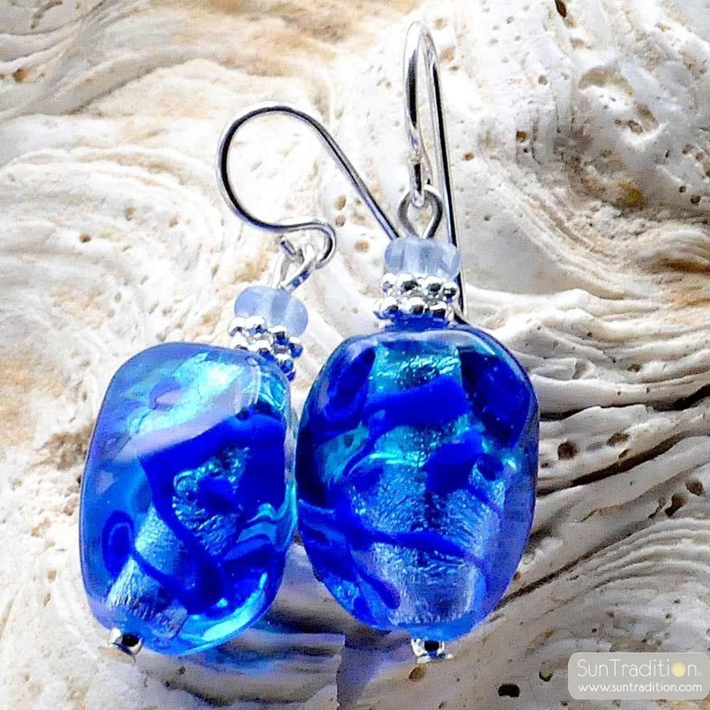 SASSO två tone BLUE - örhängen, MURANO-GLAS BLÅ