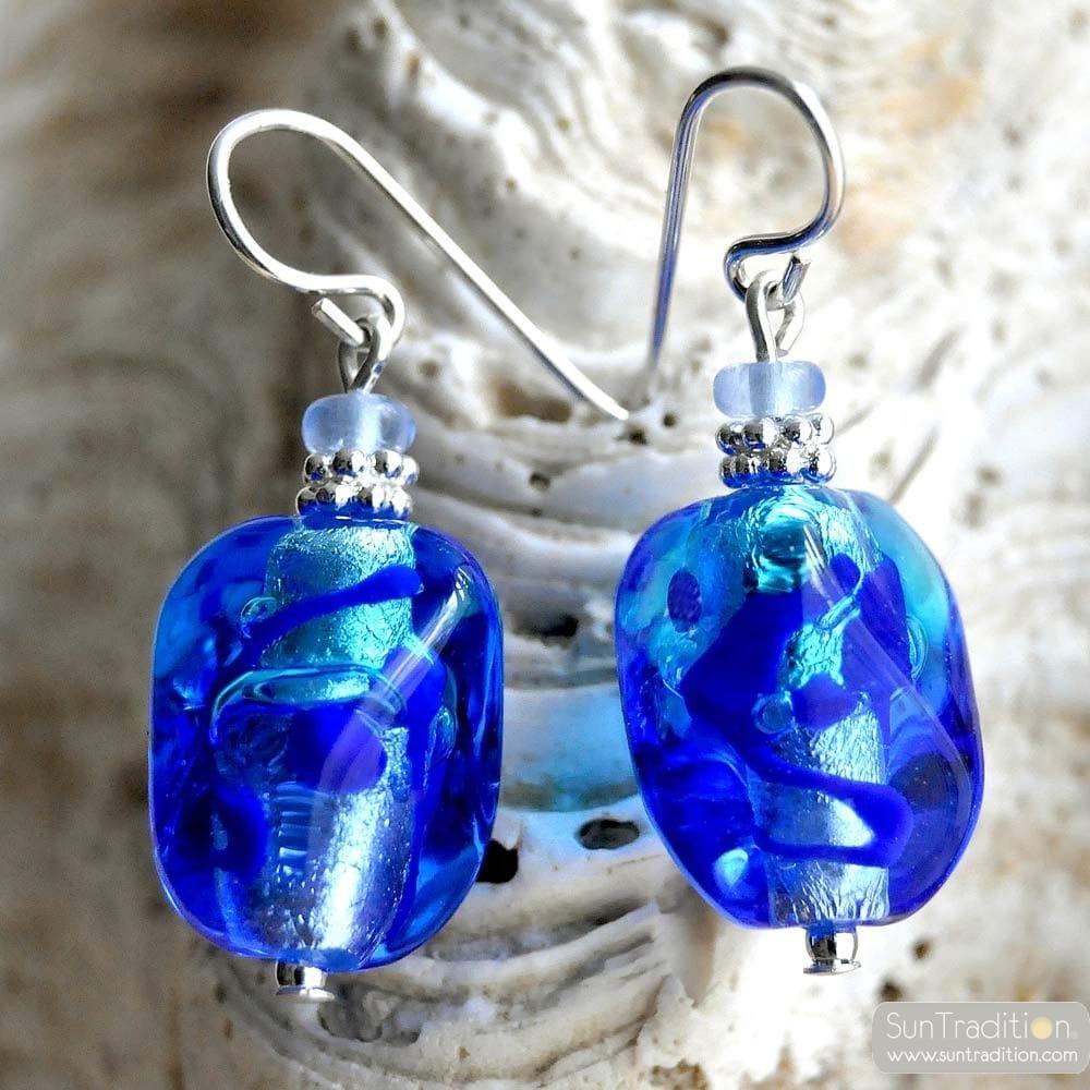 BLUE MURANO GLASS EARRINGS SASSO BICOLOR