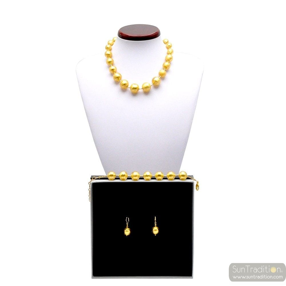 Murano glass gold jewellerey set - Gold ball pearls murano glass jewellery set true italian jewel from Venice