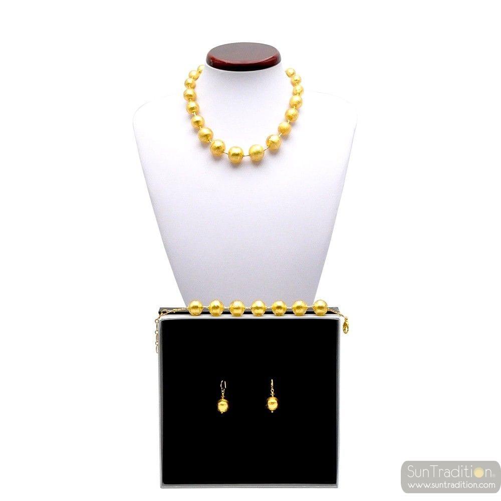 BAL GOUD - PARURE GOLD JEWELRY IN ORIGINELE MURANO GLAS UIT VENETIË