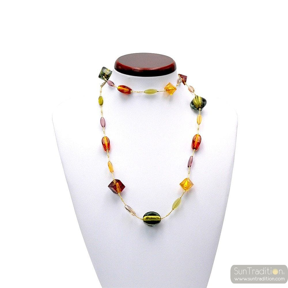 LANCET AMBER - NECKLACE LONG AMBER IN GENUINE MURANO GLASS FROM VENICE