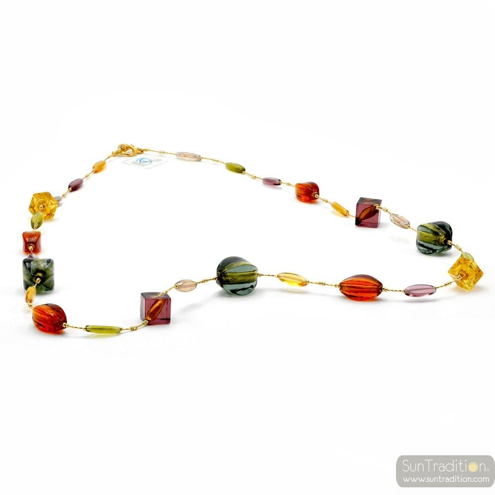 Lancette Multicolor - Multicolor and gold Murano glass collar genuine jewel from Venice Italy