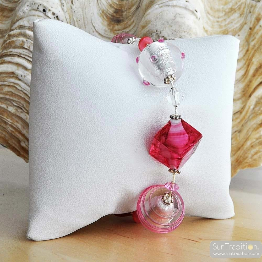 pink amber murano glass jewelry bracelet