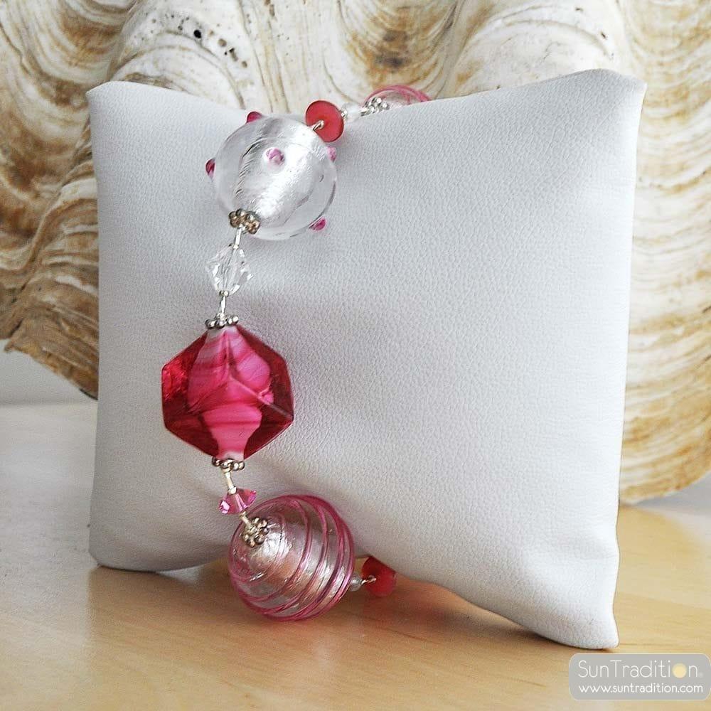 PINK GENUINE MURANO GLASS BRACELET