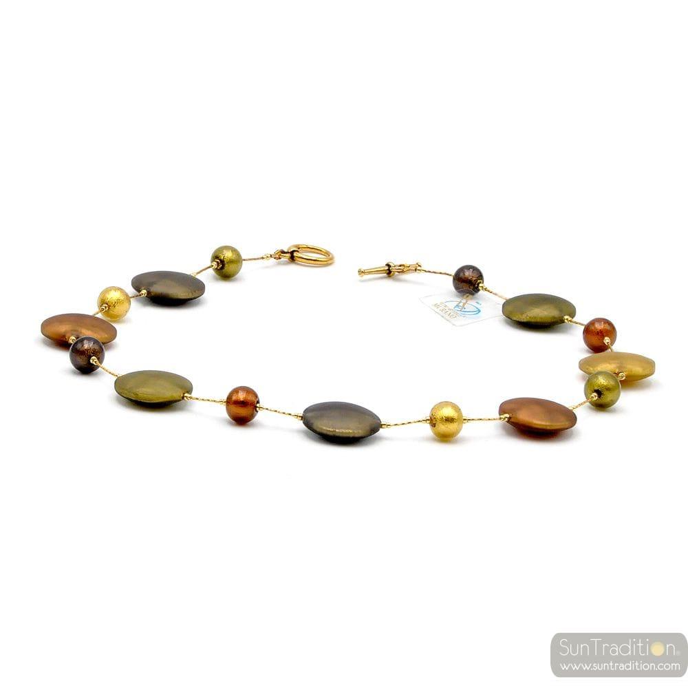FRANCY SATIN GOLD - GOLD SATIN NECKLACE MURANO GLASS OF VENICE