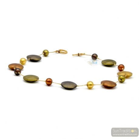 GOLD SATIN MURANO GLASS NECKLACE