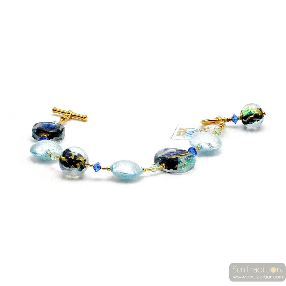 BLUE MOONLIGHT - BLUE GUENUINE MURANO GLASS BRACELET