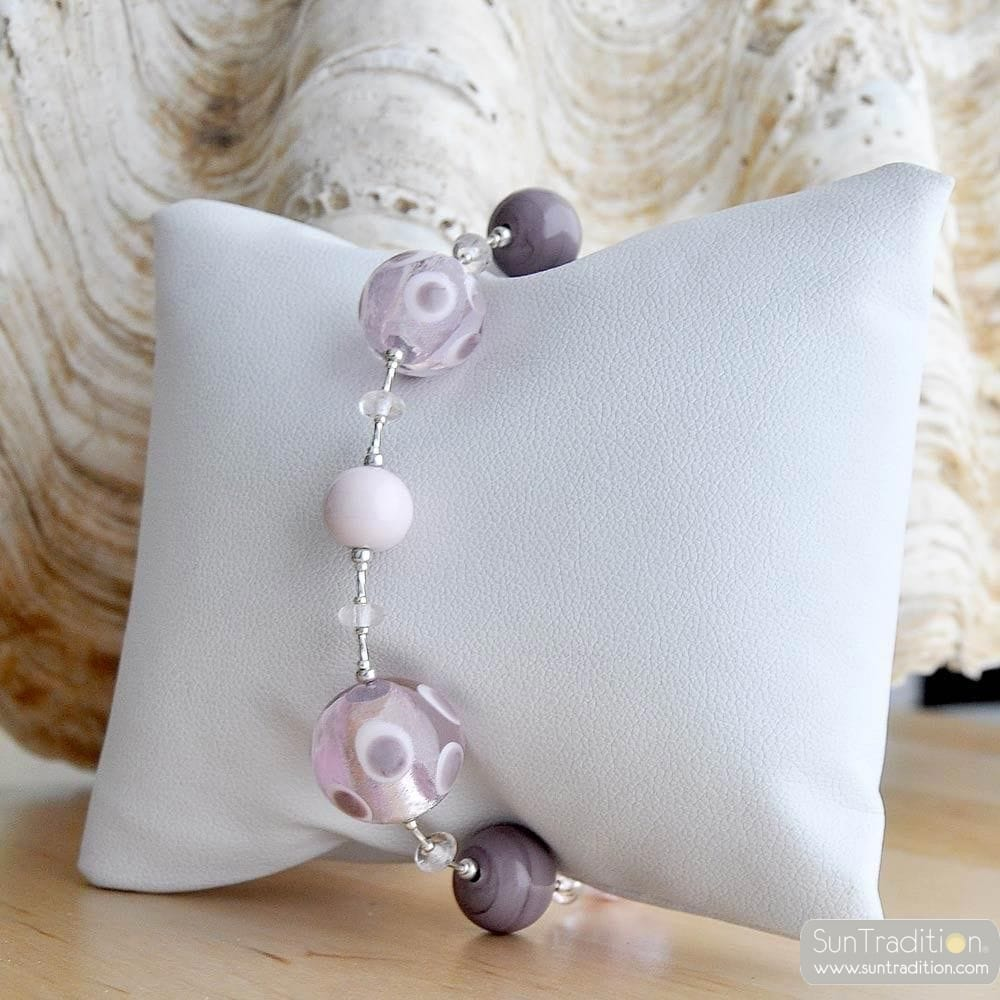 GALAXY LILAC BRACELET GENUINE MURANO GLASS VENICE