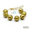 Ball khaki green bracelet - GenuineMurano glass bracelet Venice