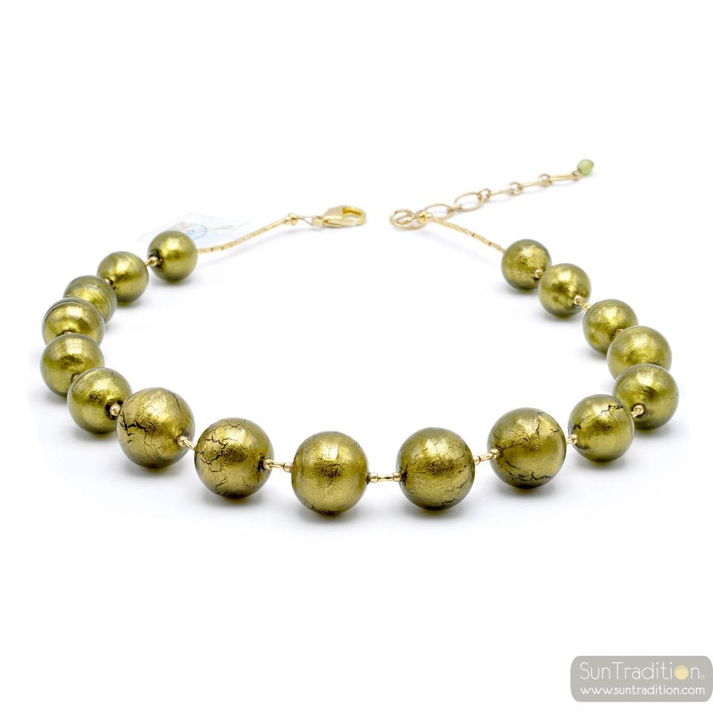 BALL GREEN KHAKI - KHAKI GREEN MURANO GLASS NECKLACE JEWEL GENUINE MURANO GLASS OF VENICE