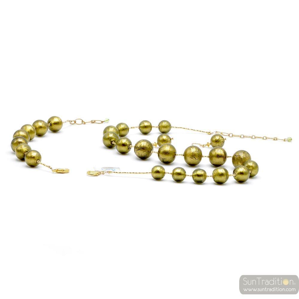 BALL GREEN ARMY JEWELRY SET OF GENUINE MURANO GLASS