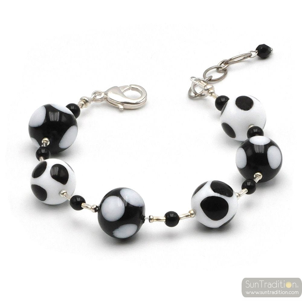Ball peas black and white - Genuine Murano glass bracelet Venice